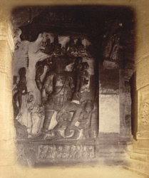 Sculpture of Varaha and Prithvi, with inscription, in Cave III, Badami, Bijapur District